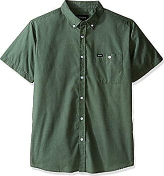 Brixton Mens Central Short Sleeve Woven Shirt, Chive X-Large