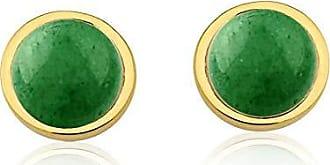 Toque De Joia Brinco semijoia círculo único pedra quartzo verde
