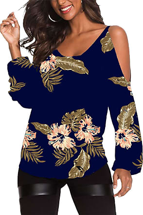 Yoins Women Cold Shoulder Tops Off Shoulder Blouses Long Sleeve Shirts Casual Round Neck Random Printed Tunic - Floral - M/UK 10-12