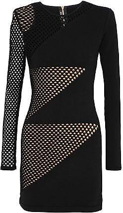 120ba443 Balmain Balmain Woman Open Knit-paneled Stretch-knit Mini Dress Black Size  34