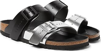 Rick Owens + Birkenstock Arizona Two-tone Leather Sandals - Silver