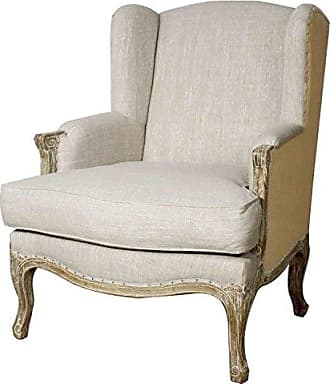 New Pacific Direct Marie Wing Arm Chair,Distressed Brown Legs,Rice Beige/Burlap,Fully Assembled