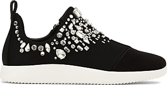Giuseppe Zanotti Black fabric runner sneaker with crystals GEMMA