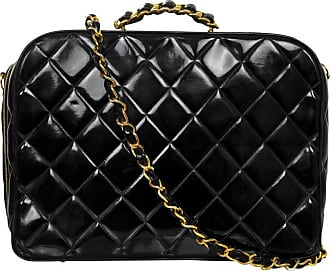 ad55288880ff Chanel 90s Vintage Black Quilted Patent Travel Bag W  Strap
