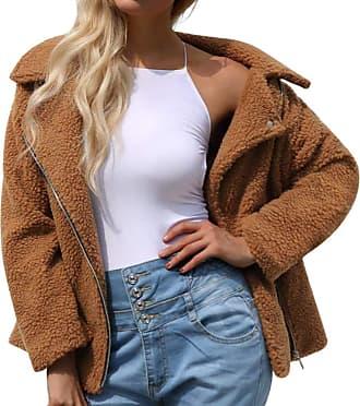 JERFER Womens Ladies Warm Coat Zipper Jacket Winter Parka Outerwear Autumn Winter Coat Brown