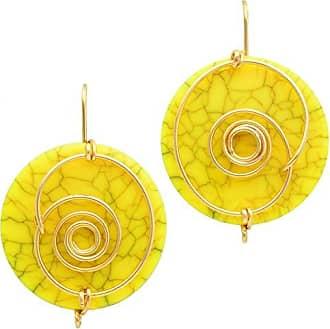 Tinna Jewelry Brinco Dourado Espiral Com Medalha De Resina (Amarelo)