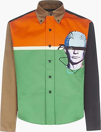 Prada Prada Visage print color-block cotton shirt - PRADA - man