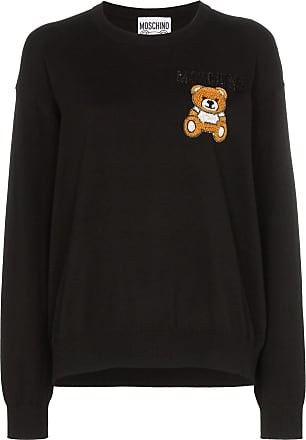 724acdfa Moschino teddy embroidered long-sleeved knitted cotton T-shirt - Black