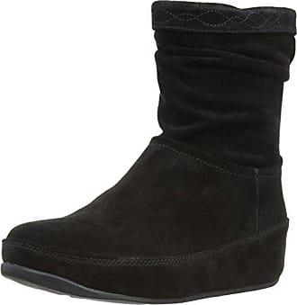 f5e2da008b99c FitFlop Fitflop Crush Suede Zip, Boots femme - Noir (Black) - EU 38