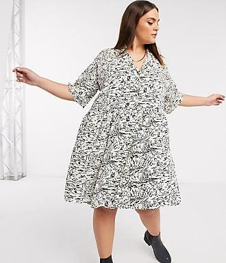 Noisy May Vestito grembiule a camicia con stampa marmorizzata astratta-Multicolore