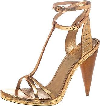 eadc6ee7e0b7c Burberry Metallic Gold Leather Hans T Strap Sandals Size 40