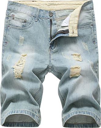 Yonglan Mens Slim Fit Shorts Jeans Shorts Knee Length Hole Ripped Denim Jeans Half Pants Light Blue 34
