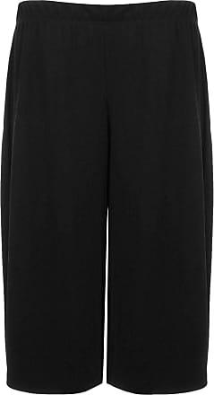 Islander Fashions Women 3/4 Length Stretch Printed Culottes Ladies Wide Leg Elasticated Trouser Black UK 24-26