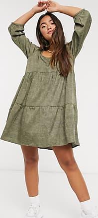 Qed London Oversize-Hängerkleid in Khaki-Grün