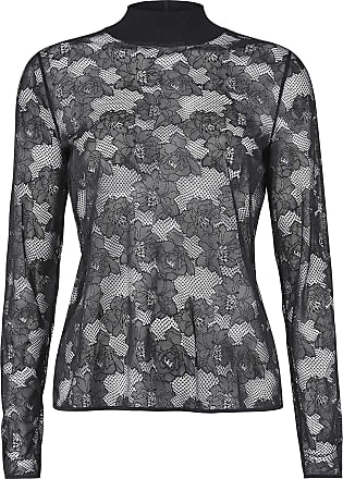 Wolford Frankie Long-Sleeved Pullover with Lace and Stand-Up Collar Black - Black - Medium