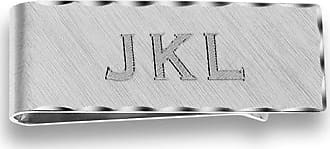 Zales Mens Engraved Scallop Edge Money Clip in Sterling Silver (5 Characters)