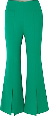 Roland Mouret Danesfield Cropped Stretch-crepe Flared Pants - Green