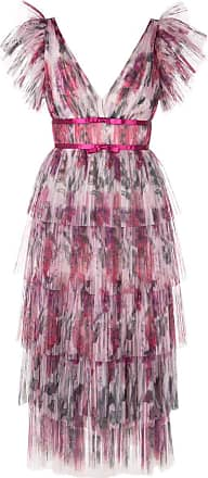 Marchesa frilled pleated dress - Pink