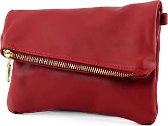 modamoda.de ital leather bag small ladies bag shoulder bag Clutch Wrist Bag leather T95, Colour:Dark red
