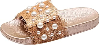 Jamron Womens Chic Pearls Lace Sandals Indoor Slides Slippers Beach Shoes Champagne SN02459 UK2.5