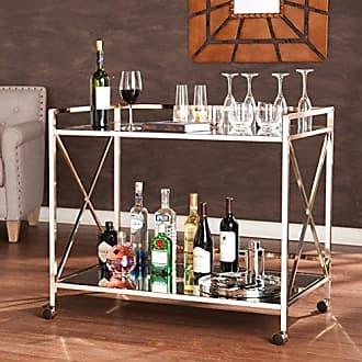 Southern Enterprises Maxton Rolling Bar Cart - 2 Large Open Display Shelves - Smooth Castors