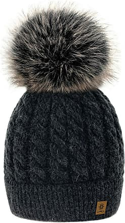 4sold Womens Ladies Beanie Hat Pom Pom Warm Winter Natural Wool Mohair Lining Full Cosy Fleece Liner (Carla Dark Grey)