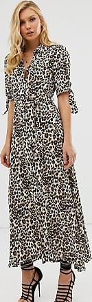 Zibi London Vestido camisero largo con estampado de leopardo de Zibi London-Multicolor