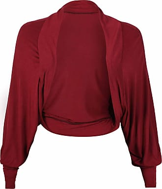 Purple Hanger Womens Plain Long Batwing Sleeve Ladies Cropped Front Open No Fastening Cardigan Stretch Shrug Bolero Top Plus Size Burgundy Size 16-18 (L/XL)