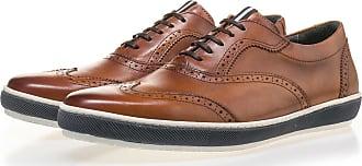 Floris Van Bommel Cognacfarbener Kalbsleder Brogue-Schnürschuh, Business Schuhe, Handgefertigt
