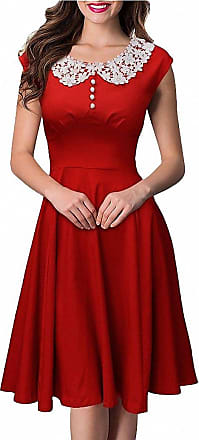 Isshe Women Lace Collar Vintage Cap Sleeve Rockabilly Party Swing Dress for Ladies Red