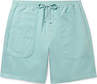 Ymc You Must Create Cotton And Linen-blend Drawstring Shorts - Sky blue