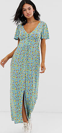 Asos jersey crepe maxi tea dress with self covered buttons in blue ditsy-Multi