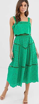 Asos Vestito da cerimonia midi con spalline sottili in pizzo con inserti-Verde
