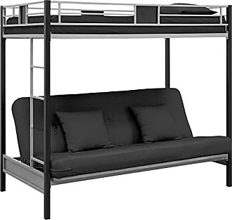 Dorel Home Products DHP Silver Screen Metal Bunk Bed with Ladder, Black, Twin