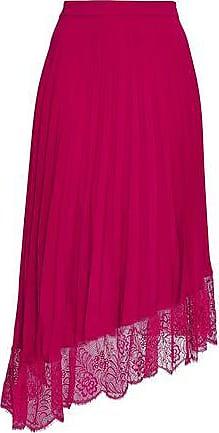 A.L.C. A.l.c. Woman Claude Asymmetric Lace-trimmed Crepe De Chine Midi Skirt Fuchsia Size 10