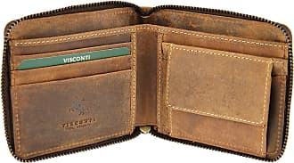 Visconti Hunters Leather Zip Round Wallet For Credit Cards, Banknotes, Coins - Bullet 702 Oil Tan(Size: One Size)
