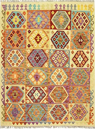 Nain Trading 195x151 Tappeto Orientale Kilim Afghan Giallo/Arancione (Afghanistan, Lana, Tessuto a mano)