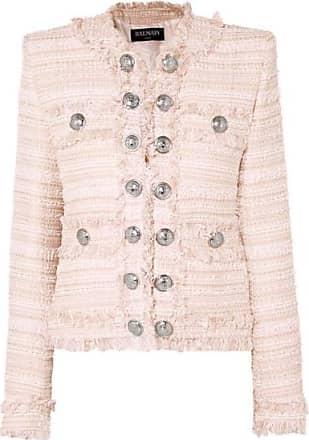 Balmain Button-embellished Fringed Tweed Blazer - Pink