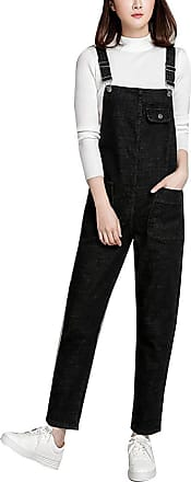 Vdual Women Regular Fit Denim Dungarees Overalls Long Jumpsuit Playsuit Jeans Trousers