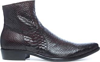 5bbb72abea68 Sacha Boots en cuir basses avec imprimé serpent - marron (41