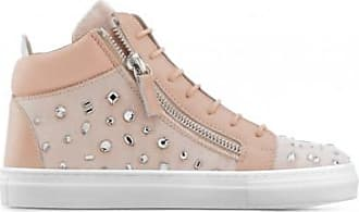 Giuseppe Zanotti Pink velvet mid-top sneaker with crystals THE DAZZLING JUNIOR
