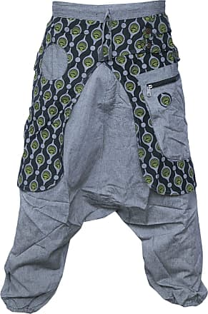 Gheri Aladdin Genie Baggy Drop Crotch Stylish Harem Eye Trousers Light Grey Small