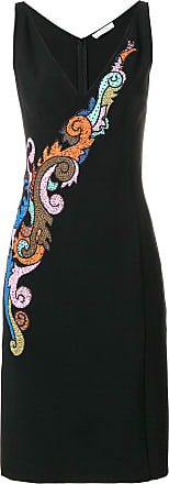 Versace Collection Vestido decote V com bordado - Preto
