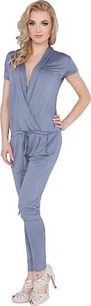 FUTURO FASHION Womens Jumpsuit with Pockets V Neck Wrap Playsuit Catsuit Sizes 8-18 1080 Steel