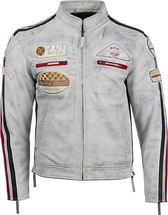 Aviatrix Mens Super-Soft Real Leather Band Collar Patch Fashion Biker Jacket (CXUS), Dirty White, XL / Chest=43inches