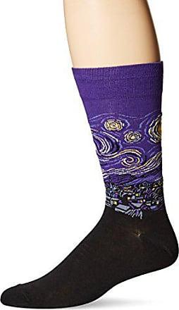 Hot Sox Mens Famous Artist Series Novelty Crew Socks, Starry Night (Purple), Shoe Size: 6-12