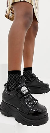 Buffalo London classic low top platform trainers in black patent
