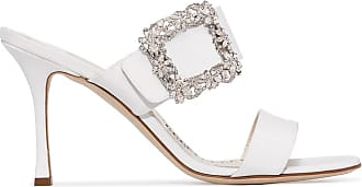 Manolo Blahnik Gable Jewel 90mm sandals - Di colore bianco