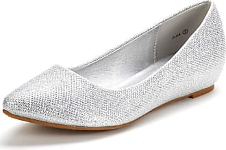 Dream Pairs Womens Jilian Slip On Pointed Toe Low Wedge Ballet Flats Pumps Shoes Silver Glitter Size 9.5 US / 7.5 UK
