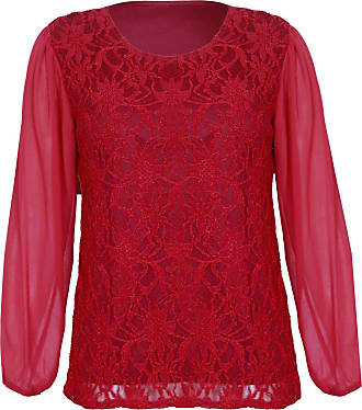 Purple Hanger Womens Chiffon Sheer Lace Mesh Full Sleeve Ladies Round Neck Stretch Lined Floral Blouse Top Plus Size Burgundy Size 22 - 24